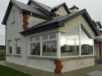 Rear view focussing on the sunroom in a one off home built by Morrissey Construction just outside Kilkenny City